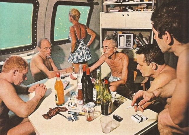 Jacques-Cousteau-with-crew-in-galley